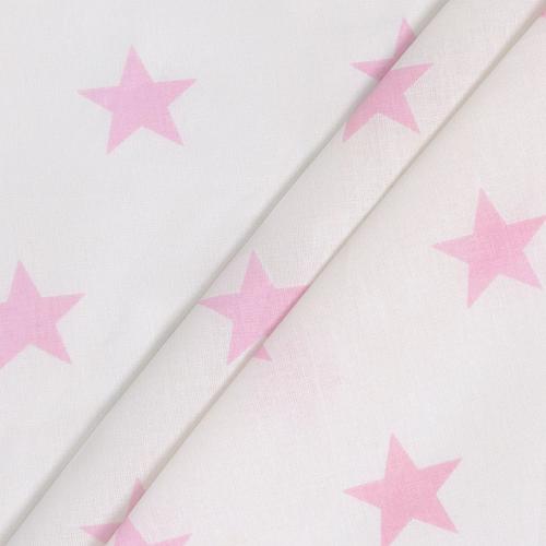 Бязь плательная 150 см 8130/32 Звезды крупные розовый б/з фото 1