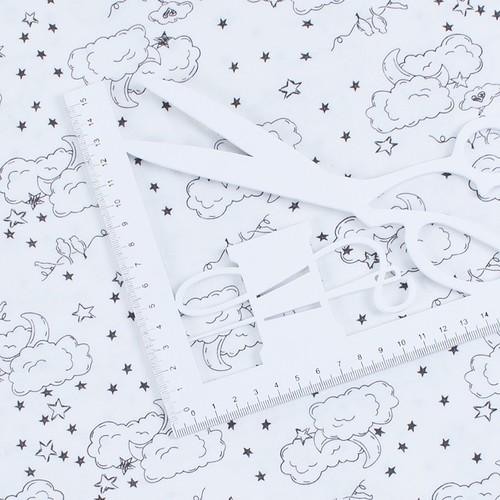 Ткань на отрез кулирка карде Облака 1261-V1 фото 4