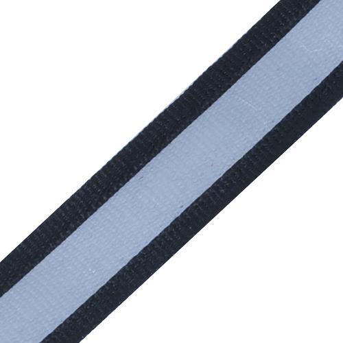 Тесьма со светоотражающей лентой 2,5см черный 1 м фото 1