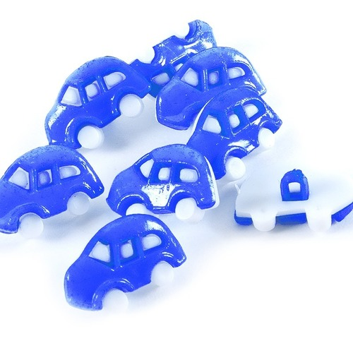 Пуговица детская сборная Машинка 18 мм цвет васильковый упаковка 10 шт фото 1