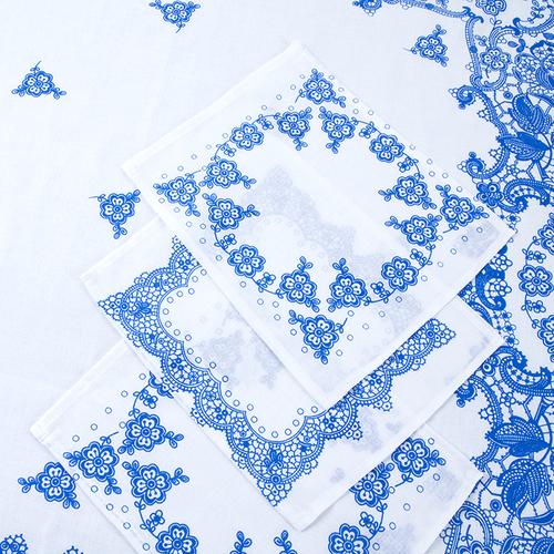 Набор ситец Шуя 69251 женский платок головной и три носовых платка фото 2