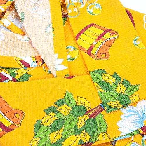 Халат детский вафельный с капюшоном 376/3 желтый 92-104 фото 2