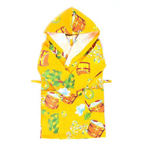 Халат детский вафельный с капюшоном 376/3 желтый 104-116 фото 1