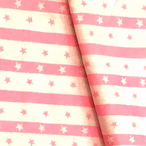 Бязь плательная 150 см 477/2 Звезды на полосе цвет розовый фото 1
