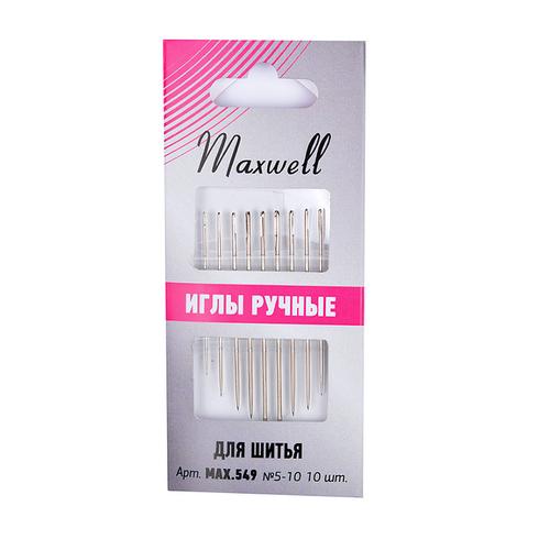 Иглы Maxwell арт.MAX.549 для шитья вышивания и рукоделия №5-10 уп.10 игл фото 1
