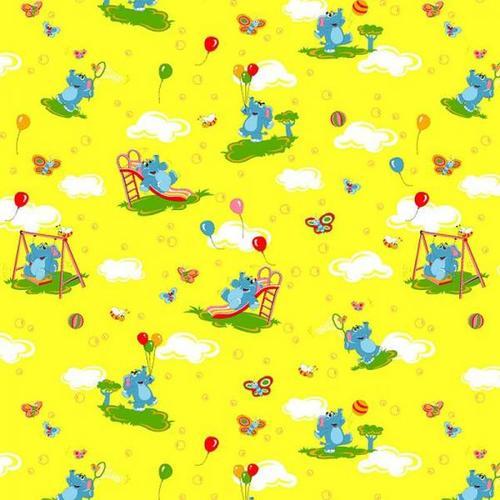 Ткань на отрез бязь ГОСТ детская 150 см 315/5 Слоники желтый фото 1