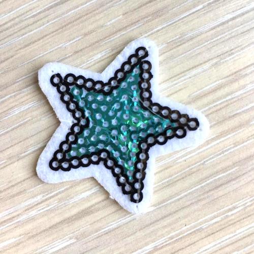 Термоаппликация ТАП В6 звезда бирюзовый 3,5*3,5см фото 1