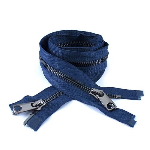 Молния металл №10 RR черный никель два замка 100см D919 морской синий фото 1