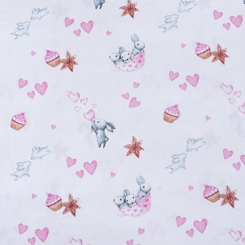 Ткань на отрез бязь 120 гр/м2 детская 150 см 9507 Зайчата цвет розовый (комп.) фото 1