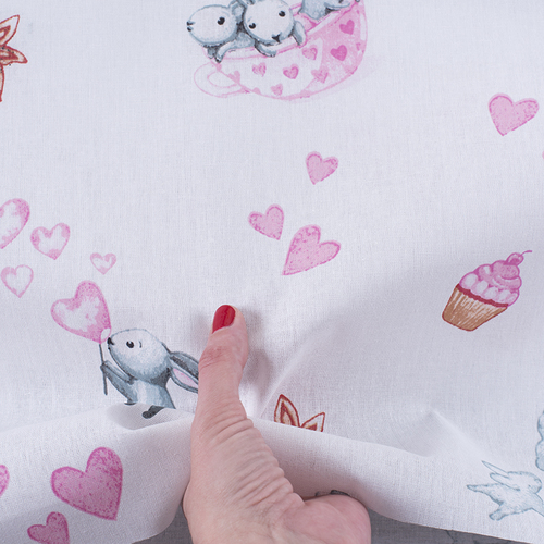 Ткань на отрез бязь 120 гр/м2 детская 150 см 9507 Зайчата цвет розовый (комп.) фото 2