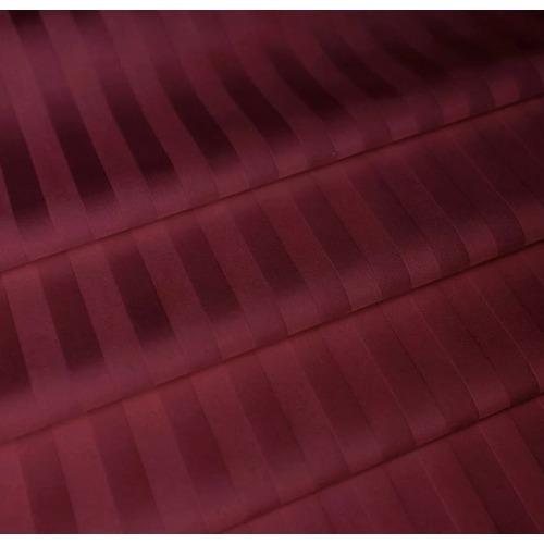 Ткань на отрез страйп сатин полоса 1х1 см 220 см 120 гр/м2 цвет 084/2 бордовый фото 1