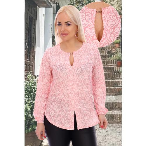 Блуза 6851 розовая р 48 фото 3