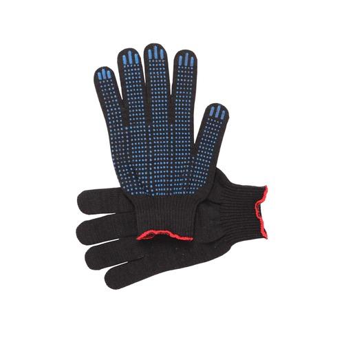 Перчатки рабочие с ПВХ 10-й класс черные 4-х нитка (Точка) фото 1