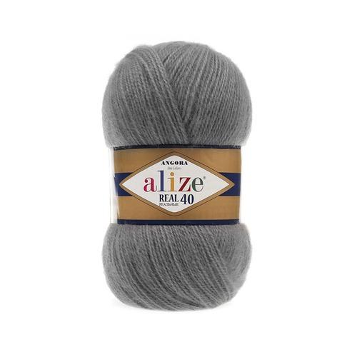 Пряжа ALIZE ANGORA REAL 40 87-угольно-серый ( 40% шерсть 60% акрил) фото 1