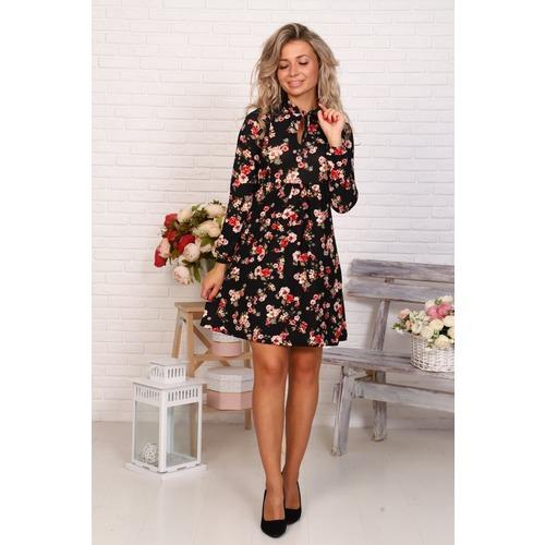 Платье Глафира Цветы на черном Д503 р 52 фото 1