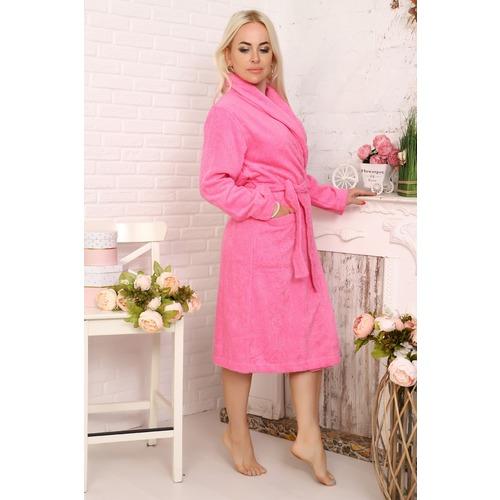 Халат Элит с воротником-шалькой женский 12941 цвет ярко-розовый р 50 фото 3