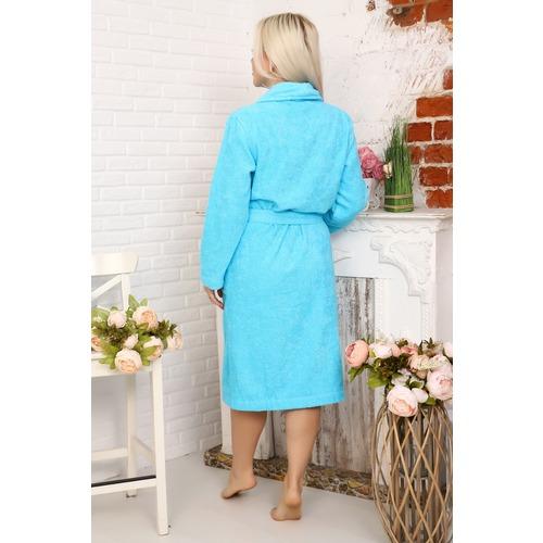 Халат Элит с воротником-шалькой женский 12941 цвет ярко-голубой р 54 фото 2