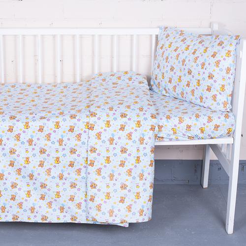 Постельное белье в детскую кроватку из перкаля 5325/1 Мишка на луне с простыней на резинке фото 1