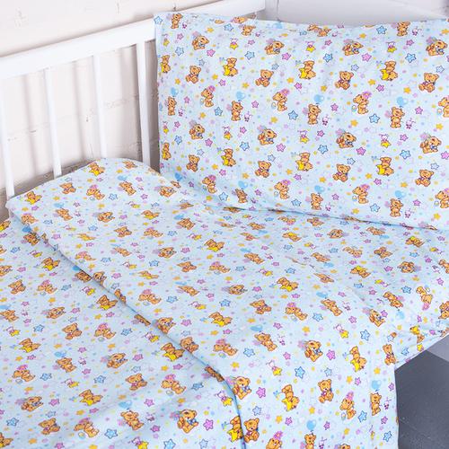 Постельное белье в детскую кроватку из перкаля 5325/1 Мишка на луне с простыней на резинке фото 4