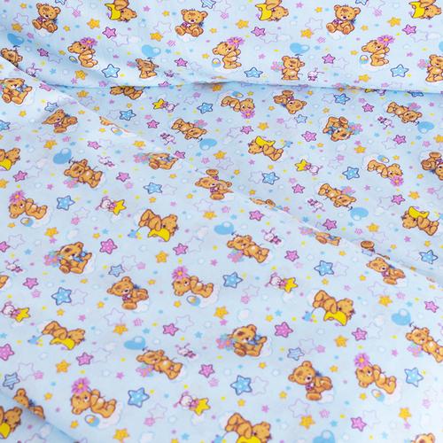 Постельное белье в детскую кроватку из перкаля 5325/1 Мишка на луне с простыней на резинке фото 3
