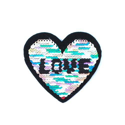 Термоаппликация ТАП 045 трансформер сердце LOVE цветное-серебро 8,5*6,5см фото 1