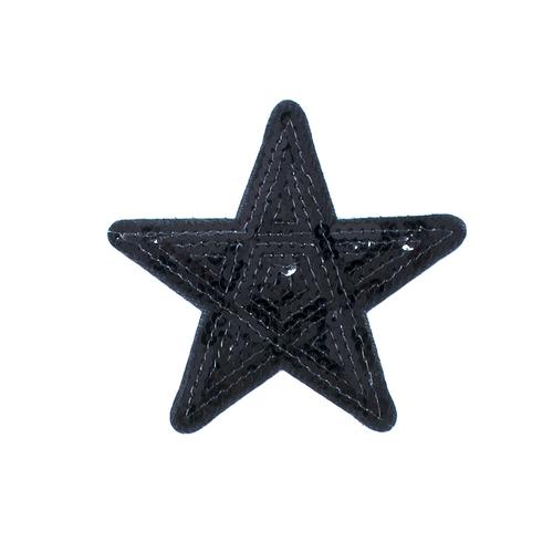 Термоаппликация ТАП 052 звезда черная 9см фото 1