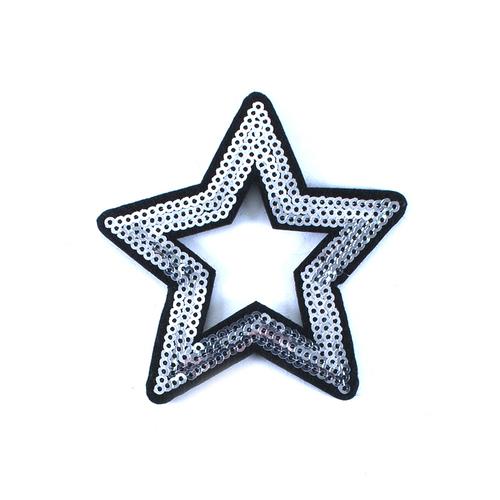 Термоаппликация ТАП 053 звезда серебро 8см фото 1