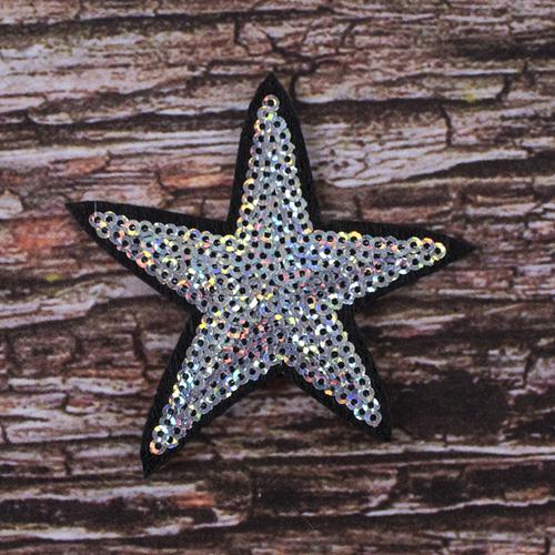 Термоаппликация ТАП 054 звезда серебро 7см фото 1