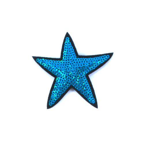 Термоаппликация ТАП 054 звезда синяя 7см фото 1