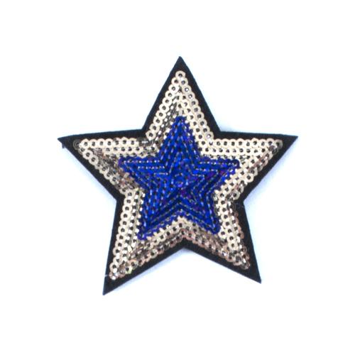 Термоаппликация ТАП 055 звезда фиолетовый-золото 7см фото 1