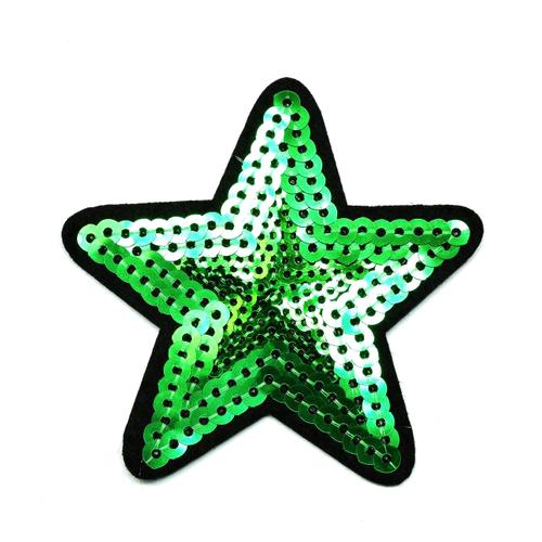 Термоаппликация ТАП 056 звезда зелёная 7,5см фото 1