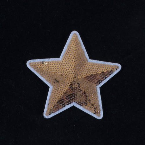 Термоаппликация ТАП 057 звезда золото 8,5см фото 1
