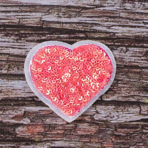Термоаппликация ТАП 061 сердце розовое 6*5см фото 1