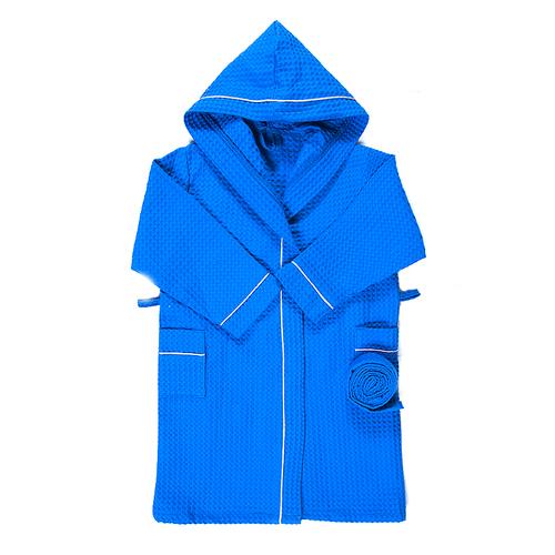 Халат детский вафельный с капюшоном синий премиум 158-164 см фото 1