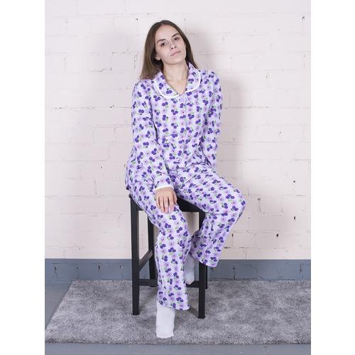 Пижама женская фланель Цветы цвет фиолетовый р 56-58 фото 1