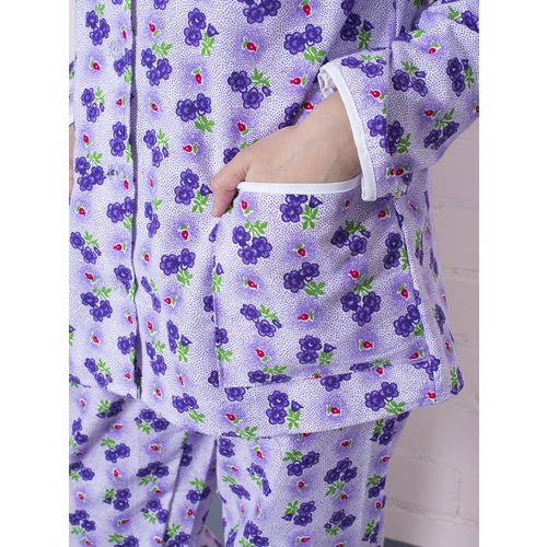 Пижама женская фланель Цветы цвет фиолетовый р 56-58 фото 2