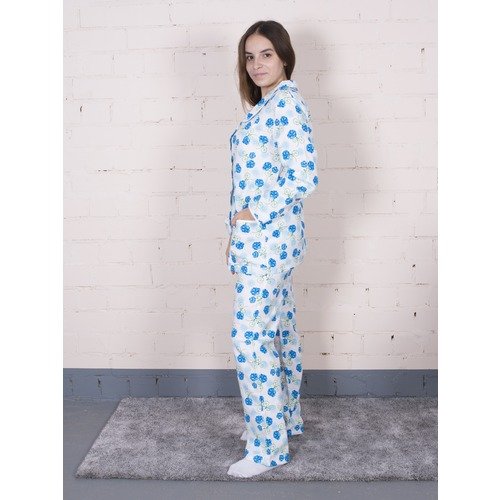 Пижама женская фланель Цветок цвет синий р 40-42 фото 3