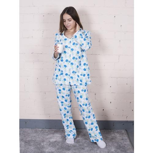 Пижама женская фланель Цветок цвет синий р 64-66 фото 1