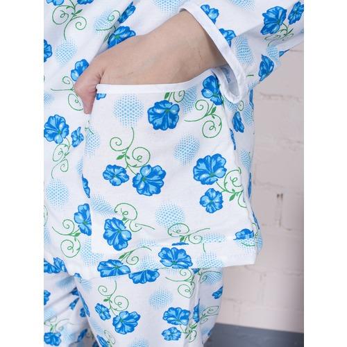 Пижама женская фланель Цветок цвет синий р 64-66 фото 2