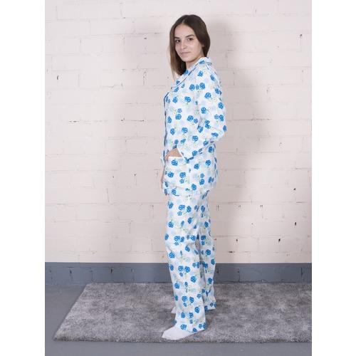 Пижама женская фланель Цветок синий + колокольчики р 48-50 фото 2