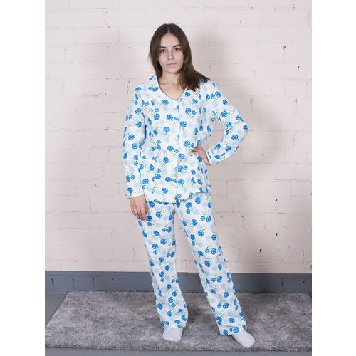 Пижама женская фланель Цветок синий + колокольчики р 48-50 фото 3