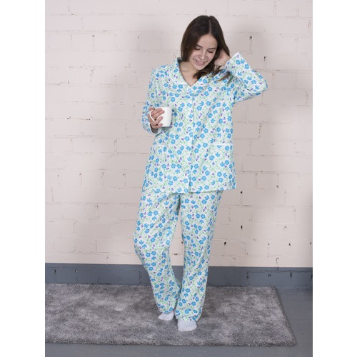 Пижама женская фланель Цветок синий + колокольчики р 56-58 фото 1