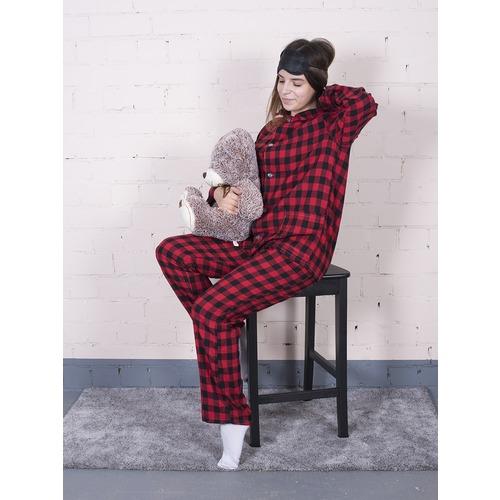 Пижама женская фланель Клетка цвет красный р 44-46 фото 1