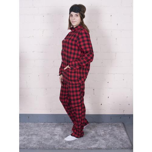 Пижама женская фланель Клетка цвет красный р 44-46 фото 4