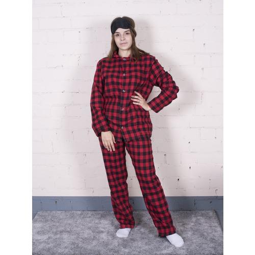 Пижама женская фланель Клетка цвет красный р 44-46 фото 2