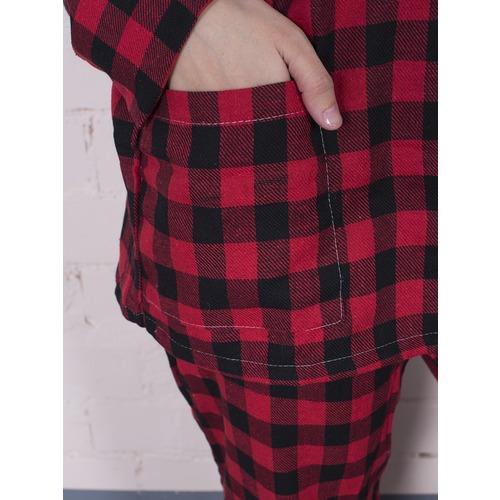 Пижама женская фланель Клетка цвет красный р 44-46 фото 3