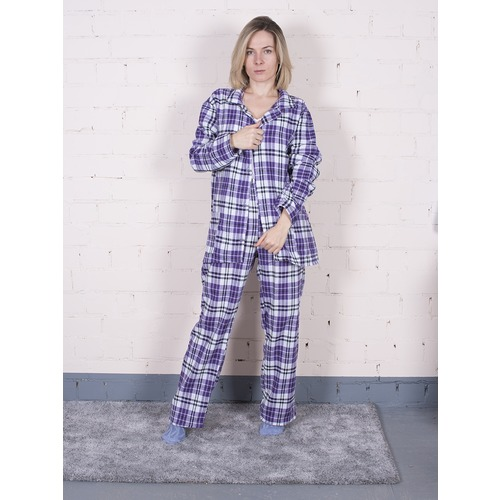 Пижама женская фланель Клетка цвет фиолетовый р 44-46 фото 1
