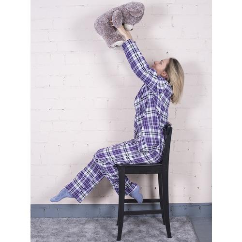 Пижама женская фланель Клетка цвет фиолетовый р 44-46 фото 2