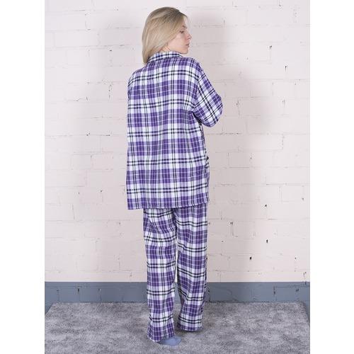 Пижама женская фланель Клетка цвет фиолетовый р 44-46 фото 3