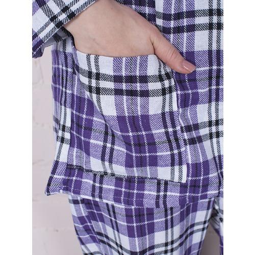 Пижама женская фланель Клетка цвет фиолетовый р 44-46 фото 4